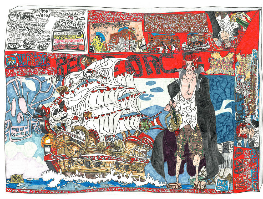'落合が描いたワンピースのプラモの箱'シャンクスの船「レッド・ フォース号」