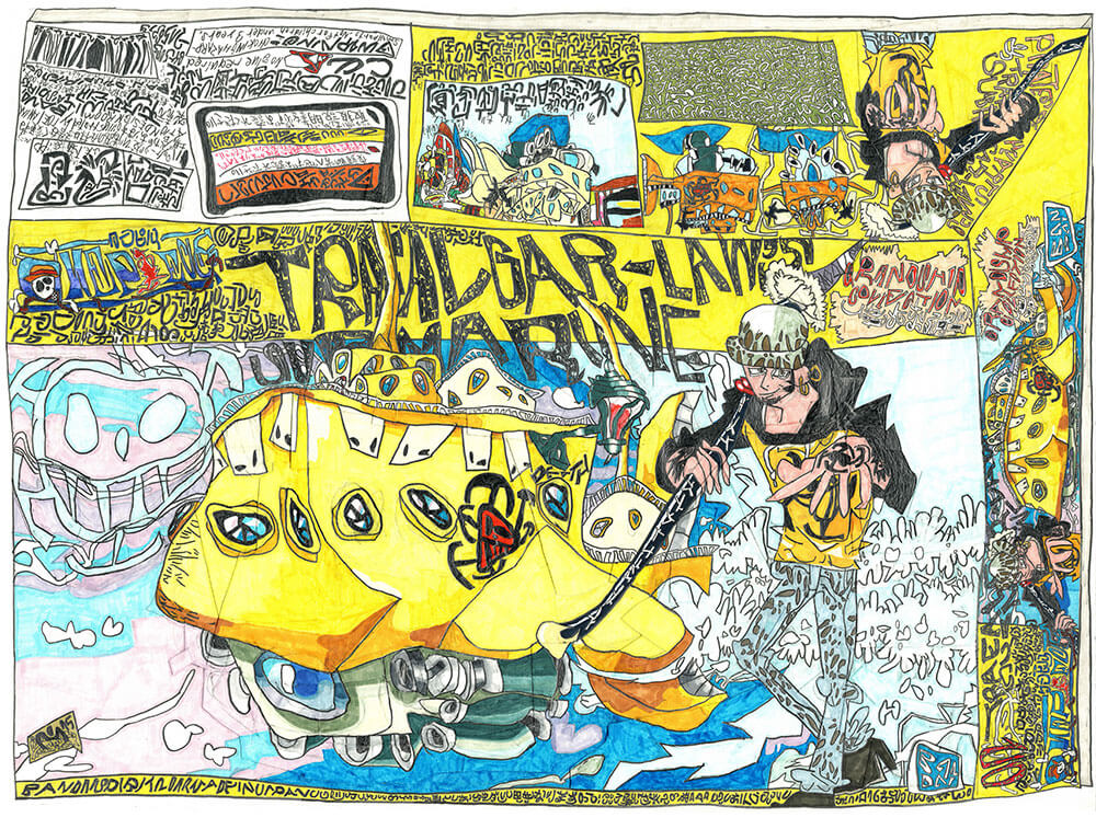 '落合が描いたワンピースのプラモの箱' 「トラファルガー・ローの潜水艦」 「BUSTERCALL」