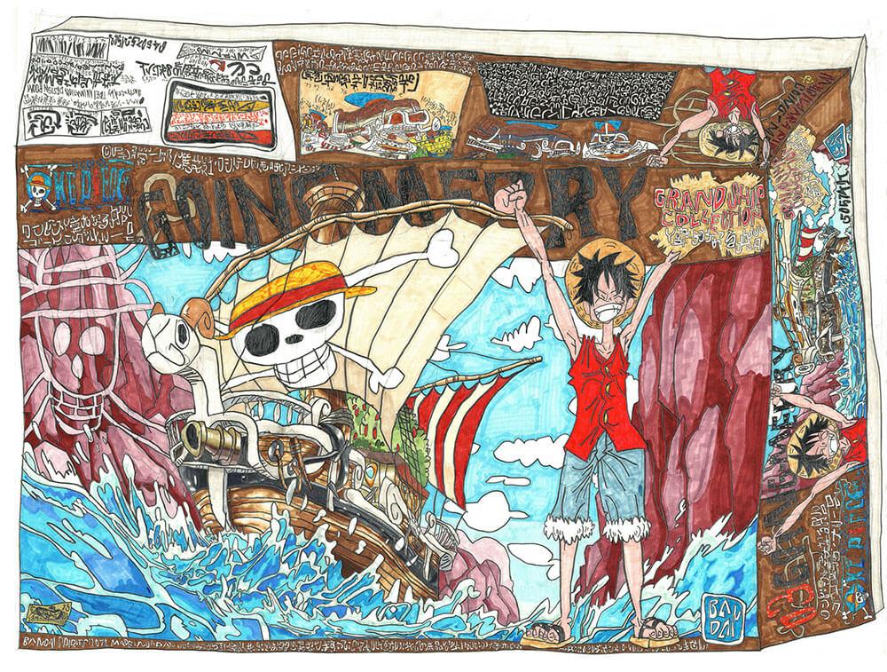 '落合が描いたワンピースのプラモの箱' 「ゴーイング・メリー号」 「BUSTERCALL」